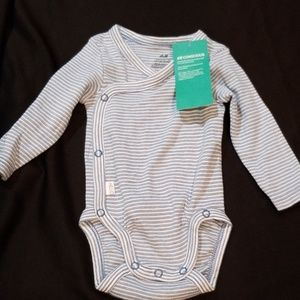 H&M long sleeved Blue & white striped baby onesie